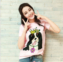 summer new style husky dog printed short-sleeved pink loose pure cotton shirt
