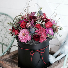 wholesale flower boxes Fancy Cardboard Round Flower Hat Box with Lid