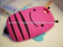 New arrival Cute 3D smile bee silicone case for iPhone 5G 4G 4S Smile bee phone case