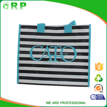 Black and white stripe ladies fashion folding pp woven shopping bag with tote