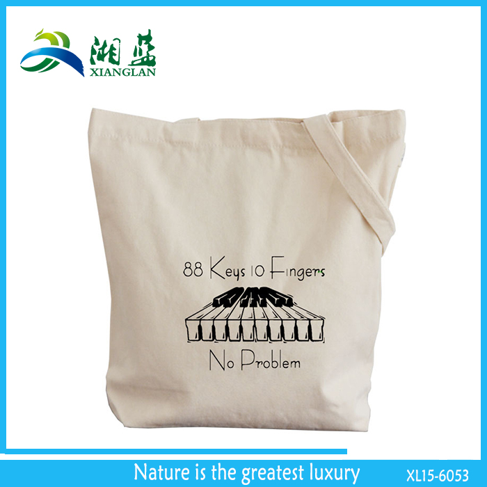light weight promotional cotton canvas tote bag with custom logo printing