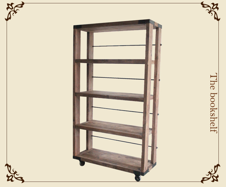 Industrial style Iron wood furniture 4 layer display shelf With wheels