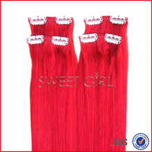 Charming hot pink color tangle free Indian hair extension clip in