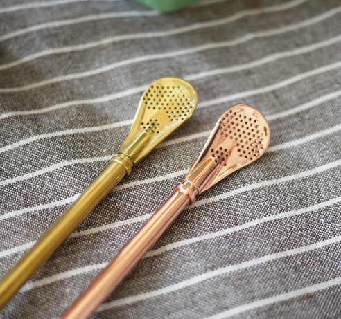 Rose golden stainless steel spoon filter straw