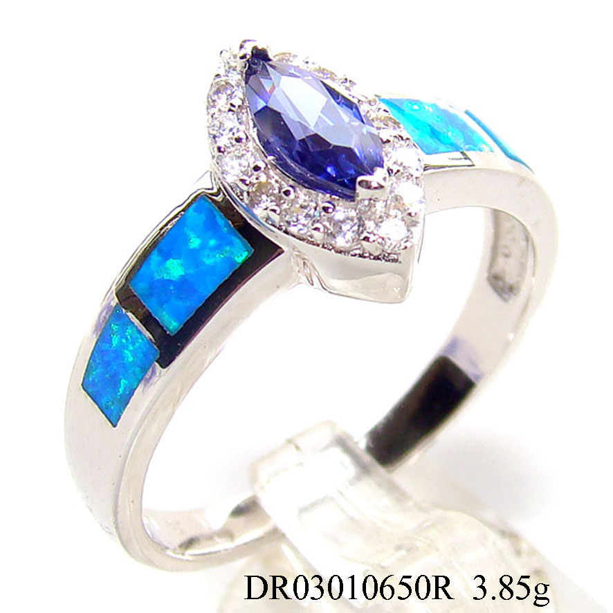 2015 Newest Design Blue Plated Finger Ring For Lady's , Clear CZ Blue Plated Ring Accepted By paypal