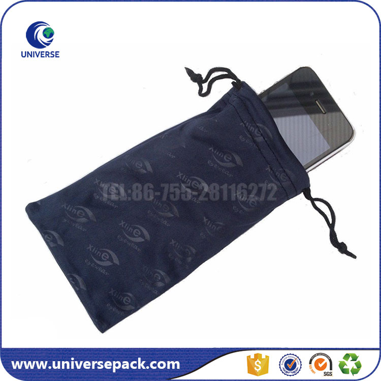 Custom microfiber cell phone bag with drawstring