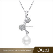 OUXI 2015 diamond crystal latest design pearl necklace 11280-1