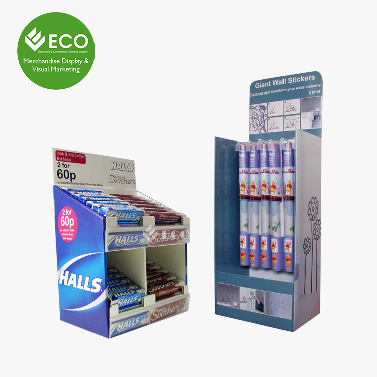 Supermarket Retail Countertop Chewing Gum Corrugated Merchandise Display Shelves