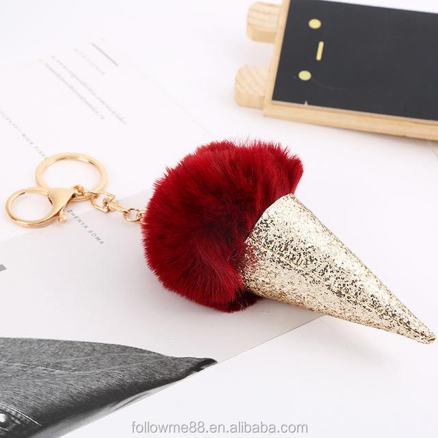 FK130 hot sell cute ice cream keychain handbag car pendant rabbit hair key ring fake jewelry for women fox fur key chain