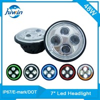 Hiwin 7inch 48w E-mark IP67 harley off road high brightness 7inch led headlight for motorcycle