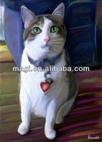 Cat design wood canvas animal oil painting