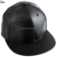 adjustable flat brim plain black men hip hop PU leather snapback cap