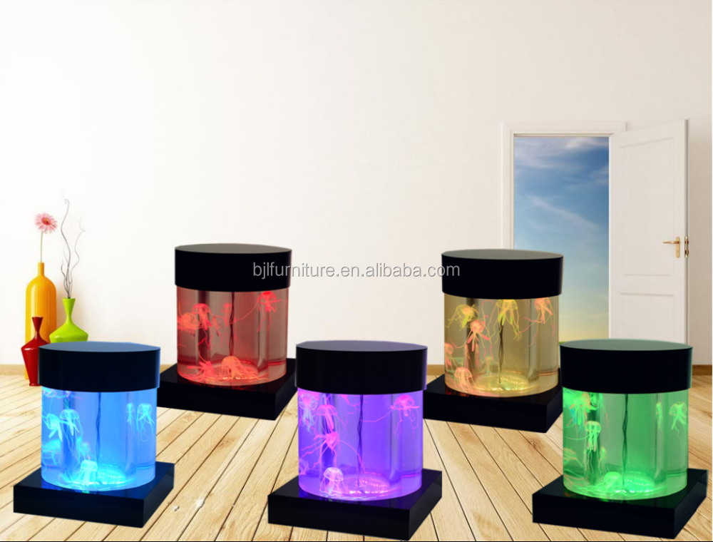 led lighted acrylic water bubble fountain cylinder shape aquarium tank room decoration