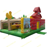 Super popular rooster cartoon china inflatable jumper house inflatable fun city