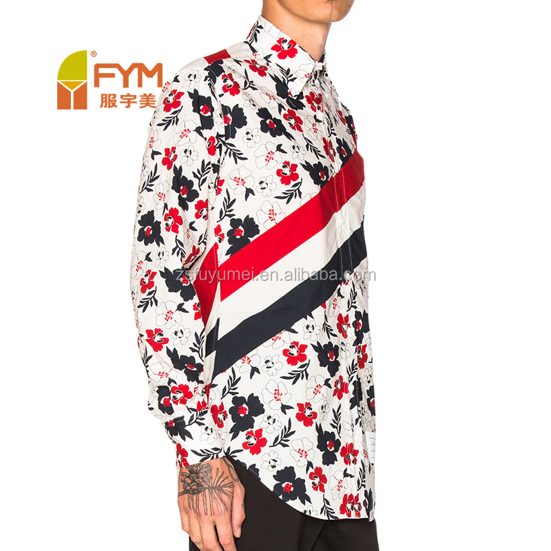 2017 vogue flower print model men shirt with stripe pattern