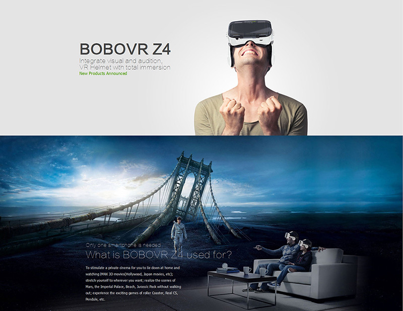 120 degree view of angle BOBO VR Z4 VR headset+ bluetooth remote