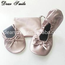 High quality comfy flat ladies leather shoes folding ballerina shoes for wedding ,party and office