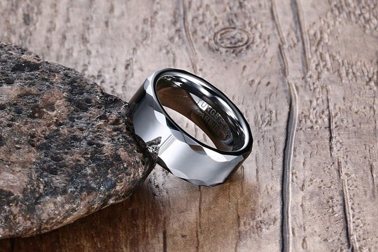 High Polished 8mm Step Edge Finished Tungsten Steel Ring For Man
