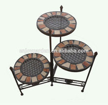 3 tier outdoor garden mosaic top metal wrought iron plant stand