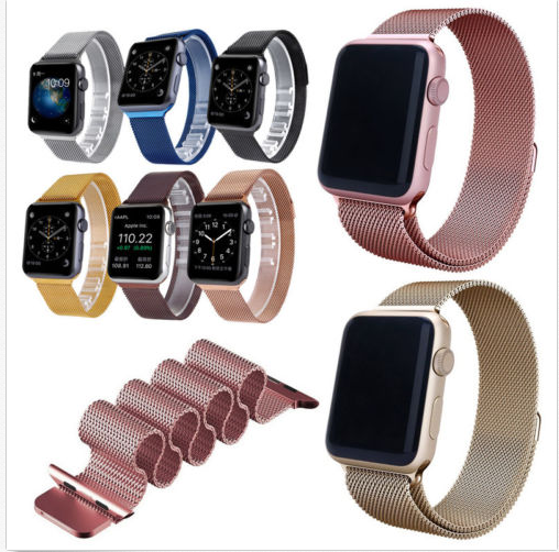 Fashion and Elegance Multi-color Magnetic Milanese Stainless Steel Loop Watch band Strap For Apple Watch