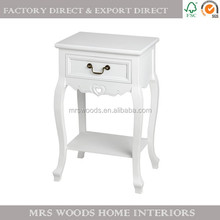 MW french shabby chic bedroom furniture solid pine wood 1 drawer 1 shelf antique white wooden bedside table, bedside