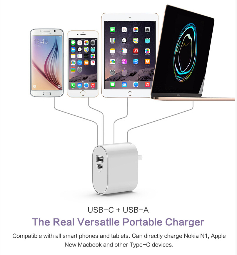 USB3.1 Type C Foldable usb Wall Charger Travel Charger For New Macbook