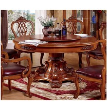 2015 Royal palace home dining furniture, solid wood round dining table and chair