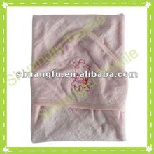 100% cotton sheared baby terry towel blankets with embroidered cartoon pattern