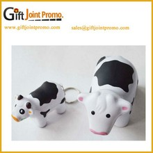 Custom Animal Stress Ball with Kechain, Mini Cow Antistress ball