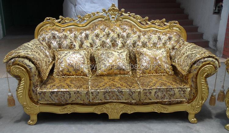 Royal Living Room Sofa Furniture Golden Dubai Sofa Design
