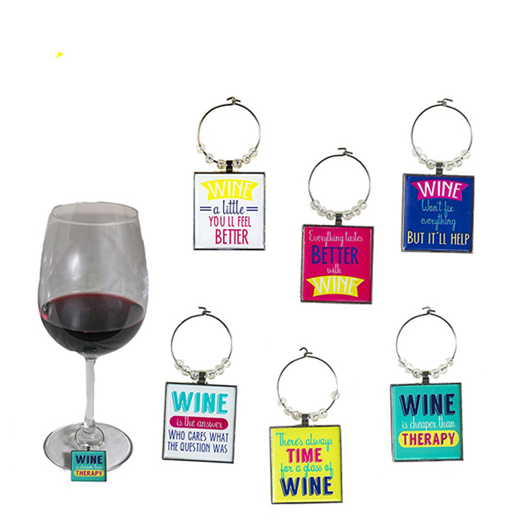Funny Art Quote <strong>Wine</strong> Charms Set of 6 Inspirational Word Glass Marker