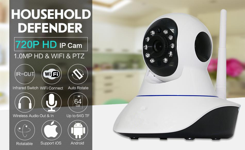 720P night vision 355 degree PTZ wireless wifi ip camera with 2 way speaker