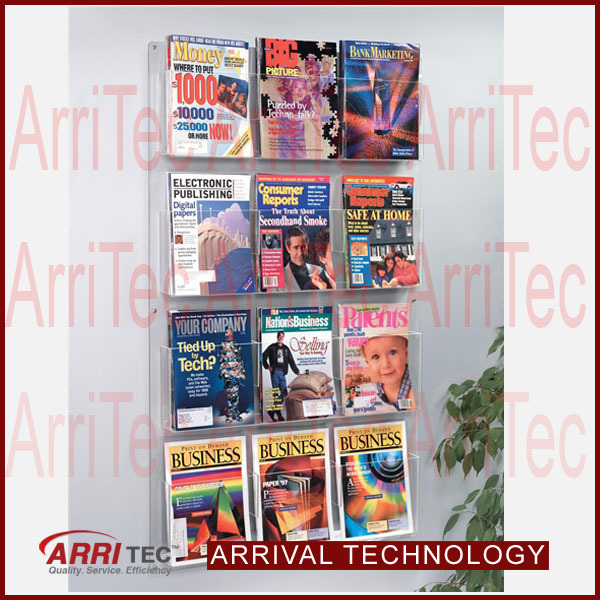 wall mounted Multi pockets magazine leaflet adjustable acrylic new design brochure holder