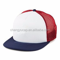 Good Quality Plain Blank Sponge Foam Mesh 5 Panels Caps, Custom Flat Peaked Trucker Hats