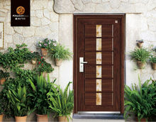 glass insert steel security wooden door JDZ-03