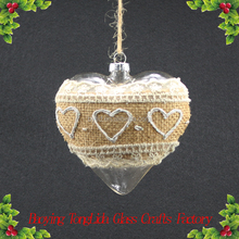 Clear glass love heart shaped ball ornaments for wedding decoration