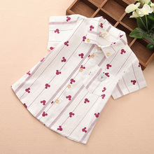 QK611 summer the new foreign trade children's clothing shirt boy leisure full printing shirts with short sleeves