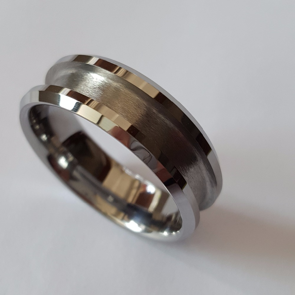ring meteorite band carbide wedding rings tungsten pin