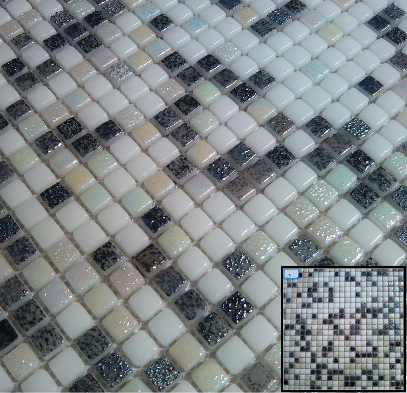 mini size square cheap glazing glass mixed color mosaic tile