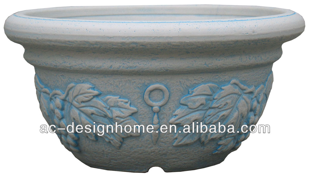 DK. SKY BLUE WASH WHITE EMBROSSED GRAPE PATTERN ROUND BLOW MOLD PLASTIC STACKABLE BOWL SHPAE FLOWER POT