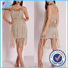 Yihao 2015 new arrival ladies designer one piece premium metallic tassel fringe dress gold for 80s