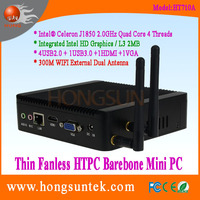 HT710A Intel Celeron J1850 2.0GHz Quad Core 4 Threads Fanless Barebone Mini Box PC with USB, WiFi