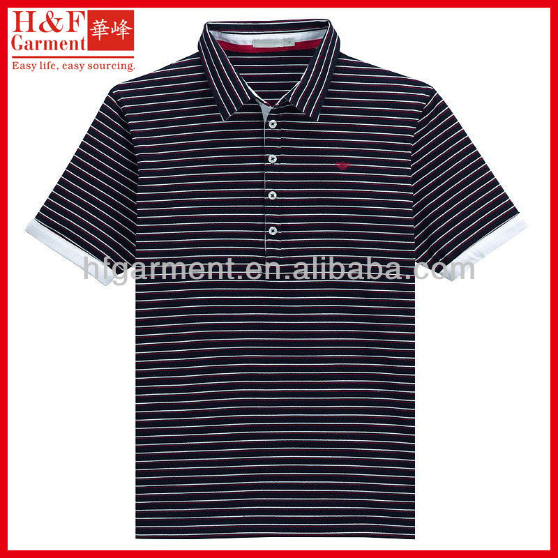 Color combination polo shirt made of yard dyed stripe cotton pique fabric