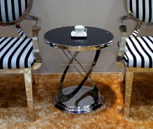 Modern style gold stainless steel base round tempered glass coffee table tea table