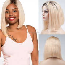 China Supplier 10 12 inch Side Part Glueless Full Lace Wig Ombre 613 Blonde Braided Short Wigs For Black Women