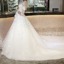 White Long Sleeve Beaded Lace Applique Floral One Muslim Wedding Dress Bridal Gown