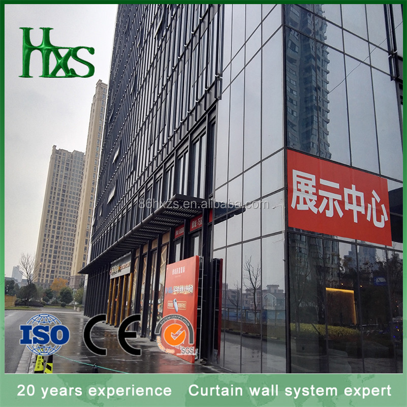Curtain wall louvers for building facade with aluminum exterior cladding
