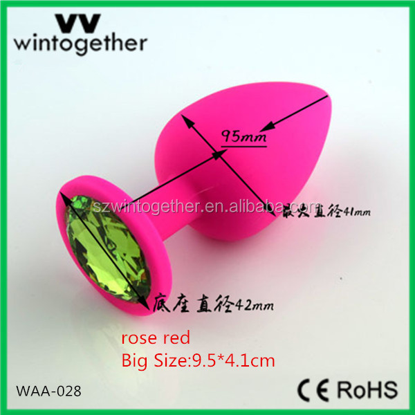 New Arrival Jewelrey Silicone Women Butt Plug Sex toys with Rosa Red color