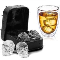 Chinese manufacturer wholesale 4 hole creative silicone 3D stereo ice bar ice cube mold in stock