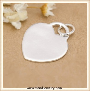 Best Selling logo and name engraved blank 925 silver heart pendant custom sterling silver jewelry tags